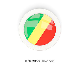 Round flag of republic of the congo with carbon frame