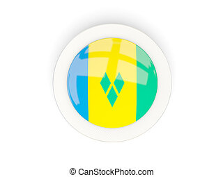 Round flag of saint vincent and the grenadines with carbon frame