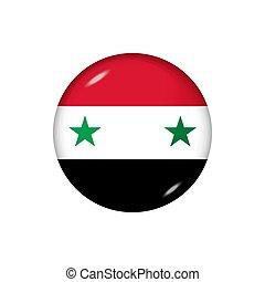 Round flag of Syria. Vector illustration. Button, icon, ...