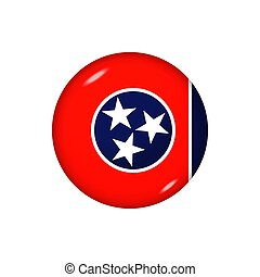 Round flag of Tennessee. Vector illustration. Button, icon, glossy badge
