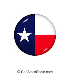 Round flag of Texas. Vector illustration. Button, icon, glossy badge