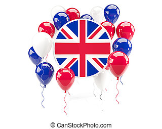 Round flag of united kingdom with balloons