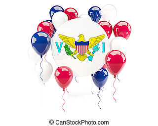 Round flag of virgin islands us with balloons