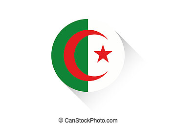 Round flag with shadow of Algeria