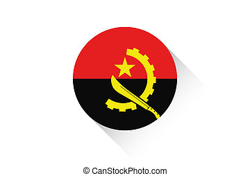 Round flag with shadow of Angola