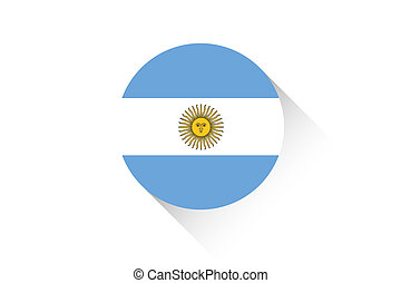 Round flag with shadow of Argentina
