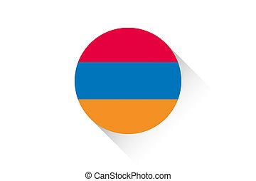 Round flag with shadow of Armenia