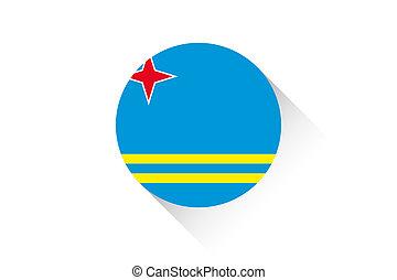 Round flag with shadow of Aruba