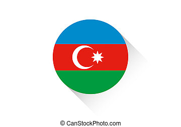 Round flag with shadow of Azerbaijan