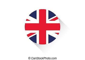 Round flag with shadow of United Kingdom