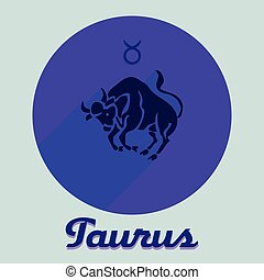 Round flat icon for a site, sign of the zodiac Taurus, blue on a purple background,