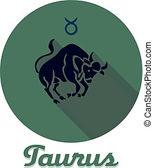 Round flat icon for site, zodiac sign Taurus, dark blue bull on dirty greenish background,