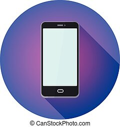 Round flat icon for website. cell phone on purple background,