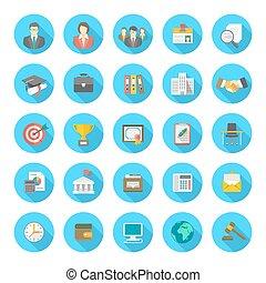 Round Flat Resume Icons - Set of modern flat round vector...