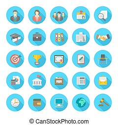 Set of modern flat round vector icons suitable for business resume and the searching of human resources for a company