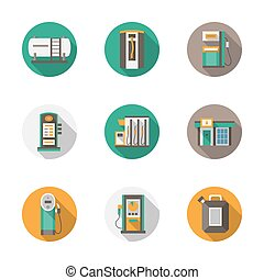 Round flat style gas station vector icons - Set of round...