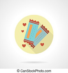 Round flat vector icon for lovers tickets