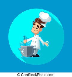 Round flat vector icon with chef apple and kitchenware