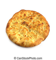 round flatbread with rosemary over white background