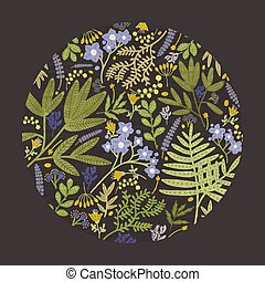 Round floral decorative design element, backdrop or decoration consisted of colorful wild blooming meadow flowers, flowering herbs and forest ferns on black background. Natural vector illustration.