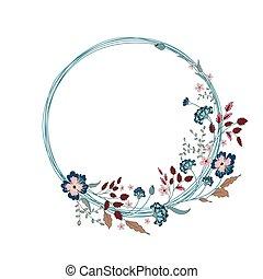 Floral Frame. Cute flowers arranged un a shape of the wreath