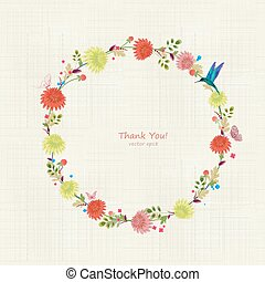 Round floral frame for your design. thank you