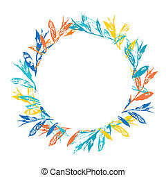 Round floral frame isolated on white background