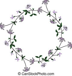 Round floral frame with flowers