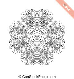 Round floral ornament. Mandala. Abstract background. Design for adult coloring book page.