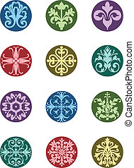 Round Floral Ornaments - A selection of circular floral ...
