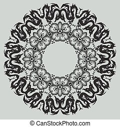 Round floral pattern on a gray background
