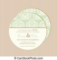 Round floral wedding invitation