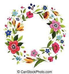 Round flower frame for invitation, t-shirt design - Round ...