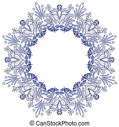 Round flower frame gzhel style isolated on white. Blue floral pattern.