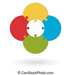 round flower puzzle colored with base and four options