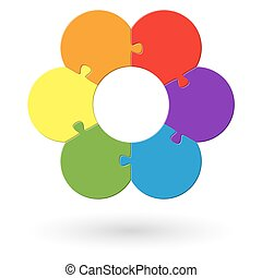round flower puzzle colored with six options
