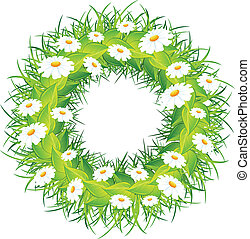 Round wreath of flowers green leaves on white background vector illustration