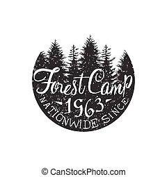 Round Forest Camp Vintage Emblem