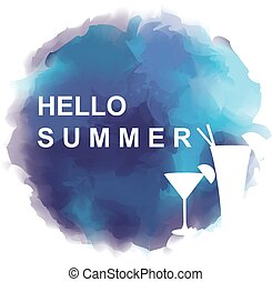 """Round frame and abstract background with text """"HELLO SUMMER"""""""