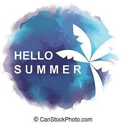 "Round frame and abstract background with text ""HELLO SUMMER"""