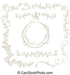 round frame and decorative vintage corners with leaves isolated on background. Vector calligraphy illustration EPS10