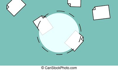 Round frame and documents HD animation - Blank round frame...