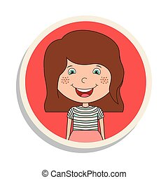 round frame and girl smiling with brown hair