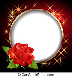 Round frame and  rose - Round frame and red rose