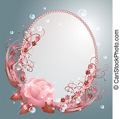 Round frame and  rose - Round frame, bubbles and pink rose