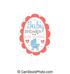 Round Frame Baby Shower Invitation Design Template