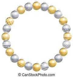 Round Frame Christmas Balls Gold Si