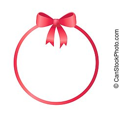 Round Frame Decorated Red Bow Vector Illustration