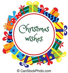 Round frame for greeting cards and promotional materials for Christmas with gifts. Christmas wishes.
