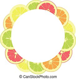 round frame from slices and whole lemons, oranges, lime,...